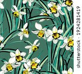 floral design with narcissuses...   Shutterstock . vector #1924281419