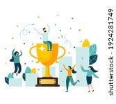 golden trophy cup  symbol of...   Shutterstock .eps vector #1924281749
