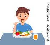 boy kids eating sausage  fried... | Shutterstock .eps vector #1924350449