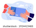 courier giving shipping object... | Shutterstock .eps vector #1924415483
