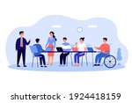 disabled employee in wheelchair ... | Shutterstock .eps vector #1924418159