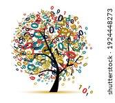 digital tree logo colorful ... | Shutterstock .eps vector #1924448273