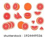 set of ripe grapefruit   whole  ...   Shutterstock .eps vector #1924449536