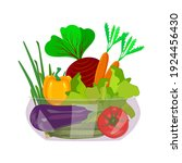 Vegetables In Bowl Isolated On...