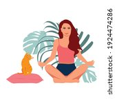woman meditating and cute... | Shutterstock .eps vector #1924474286