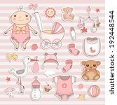 baby girl shower.  cute paper... | Shutterstock .eps vector #192448544