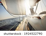 White Sloop Rigged Yacht...