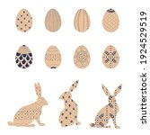 happy easter egg and bunny set. ... | Shutterstock .eps vector #1924529519