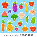 collection of cartoon fruit and ... | Shutterstock .eps vector #192455759