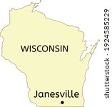 Janesville city location on Wisconsin state map