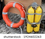 Scuba Diving Yellow Tanks And...