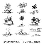 palm tree island on the sea.... | Shutterstock .eps vector #1924605806