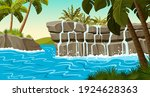 Landscape Jungle With Waterfall ...