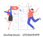 people rejoice at the bargain...   Shutterstock .eps vector #1924645499