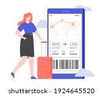 business woman stands near a...   Shutterstock .eps vector #1924645520