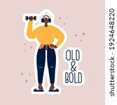 sporty old woman and lettering...   Shutterstock .eps vector #1924648220