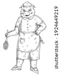 pig is dressed in a maid...   Shutterstock .eps vector #1924649219