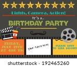 movie night. birthday party card | Shutterstock .eps vector #192465260