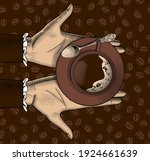 woman's hands offering a cup of ...   Shutterstock .eps vector #1924661639