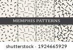 set of memphis style seamless...   Shutterstock .eps vector #1924665929