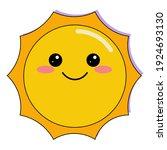 cute cartoon yellow vector sun...   Shutterstock .eps vector #1924693130