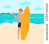 surfer on the beach with a...   Shutterstock .eps vector #1924716410