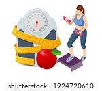 isometric healthy food and diet ... | Shutterstock .eps vector #1924720610