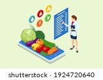 isometric healthy food and diet ... | Shutterstock .eps vector #1924720640