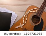 Acoustic Guitar With Wooden...