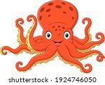 cartoon happy octopus on white... | Shutterstock .eps vector #1924746050