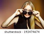 fashion woman in sunglasses ... | Shutterstock . vector #192474674