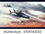 many fighter jets in air combat