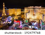 Stock photo las vegas nevada may las vegas strip at night with brightly lit hotel resorts and 192479768