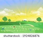beautiful sunrise landscape... | Shutterstock .eps vector #1924826876