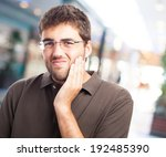 portrait of a man suffering a... | Shutterstock . vector #192485390