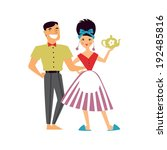 retro romantic family couple... | Shutterstock .eps vector #192485816