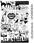Set Of Hand Drawn Halloween...