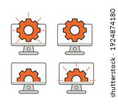 computer with setting gear icon....