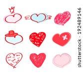 hearts set. vector illustration ... | Shutterstock .eps vector #192489146