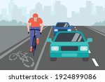 cars and cyclist on the bike...   Shutterstock .eps vector #1924899086