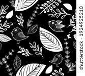 seamless monochrome floral... | Shutterstock .eps vector #1924925210