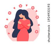 young woman hugging herself.... | Shutterstock .eps vector #1924933193