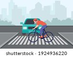 a cyclist crosses the street on ... | Shutterstock .eps vector #1924936220