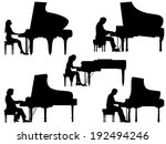 set of vector silhouettes... | Shutterstock .eps vector #192494246