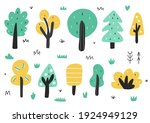 cute trees in cartoon style... | Shutterstock .eps vector #1924949129