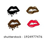 set of dripping lips with... | Shutterstock .eps vector #1924977476