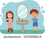 a little kid boy and girl brush ... | Shutterstock .eps vector #1925008313
