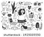 cute hand drawn doodle line art | Shutterstock .eps vector #1925035550