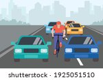 the cyclist rides on the... | Shutterstock .eps vector #1925051510