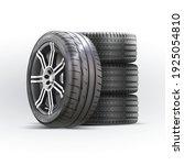 car wheels set. new tires pile... | Shutterstock .eps vector #1925054810